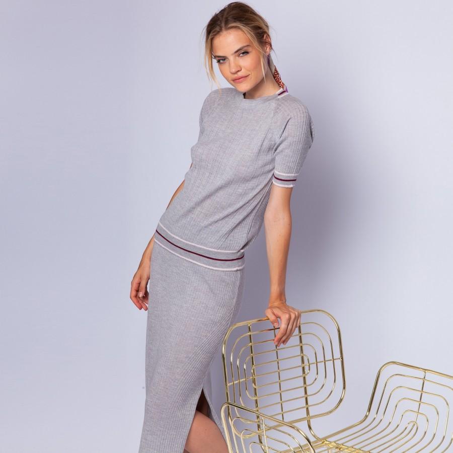 Ribbed wool top - Ecume
