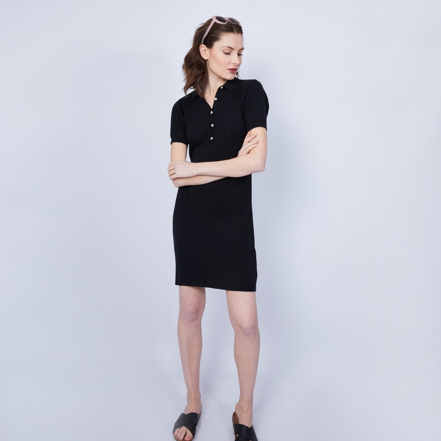 Robe col polo en coton - Jacee 6410 noir - 01 Noir