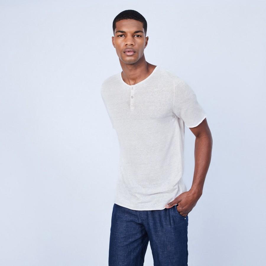 T-shirt col boutonné en lin - Leonce