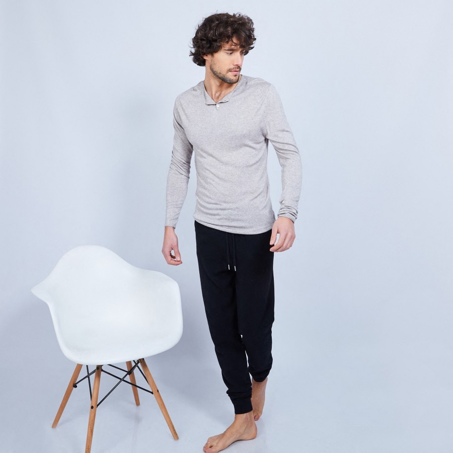 Cotton and cashmere Henley jumper - Honura
