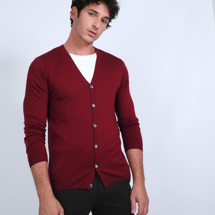 Gilet boutonné en laine mérinos - Brad