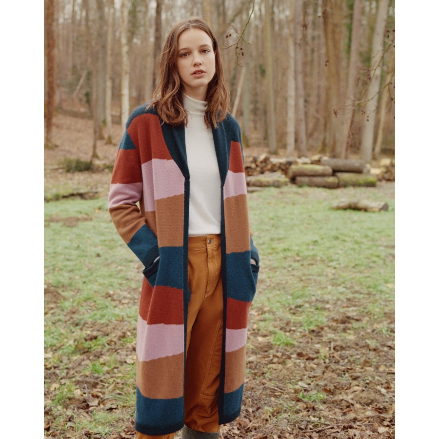 Long multicoloured cashmere cardigan - Saison