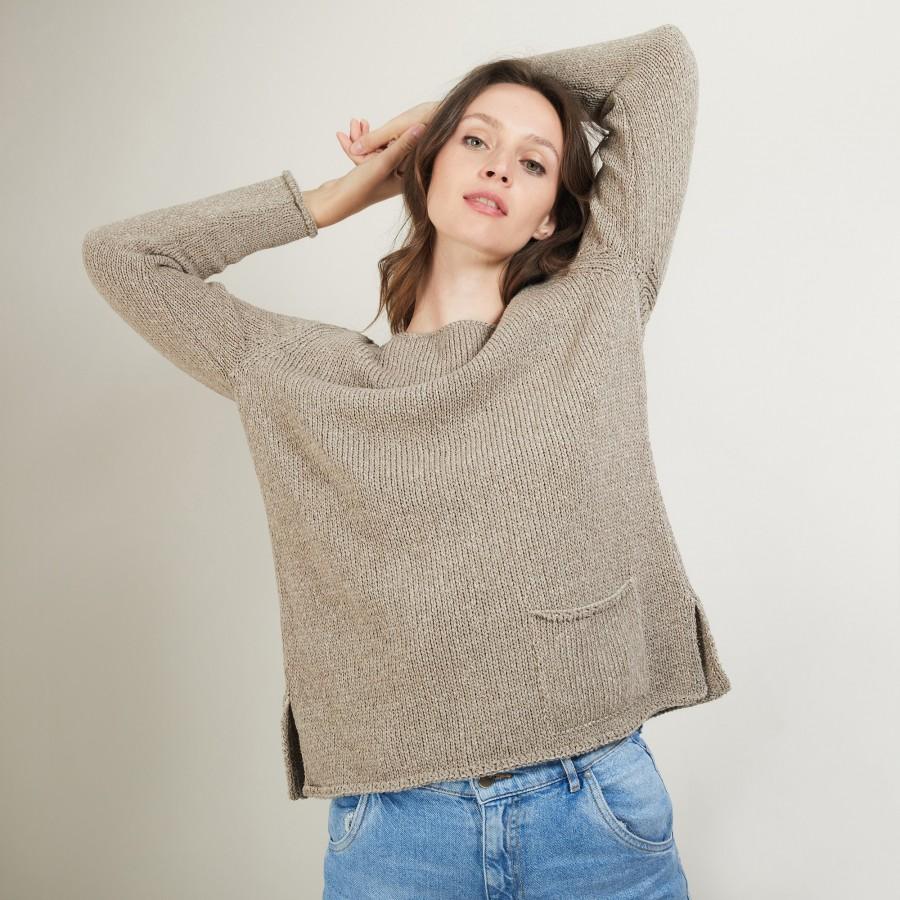 Pull col rond en laine et soie - Bajira