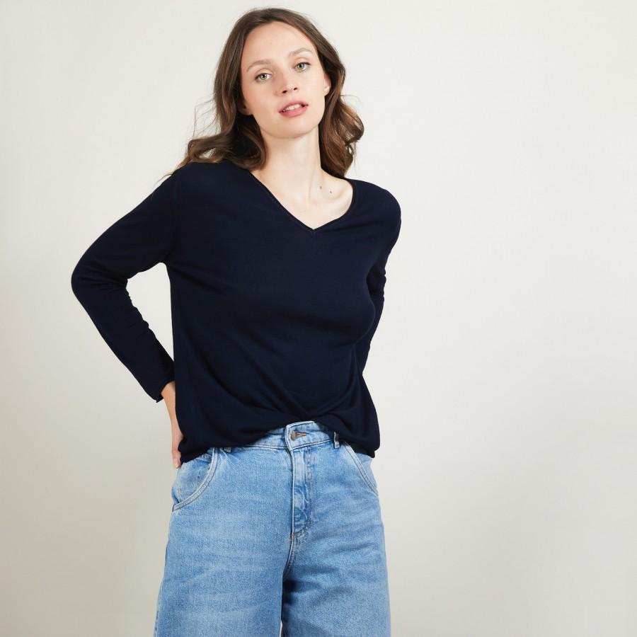 Bamboo Cashmere V-neck sweater - Barbara