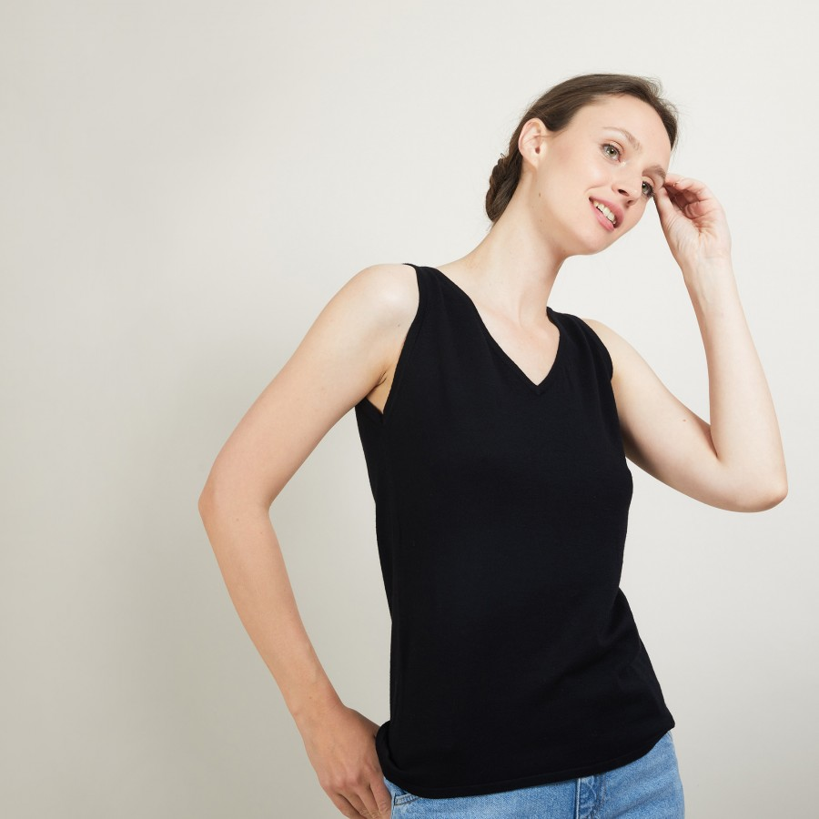 V-neck wool tank top - Blanchette