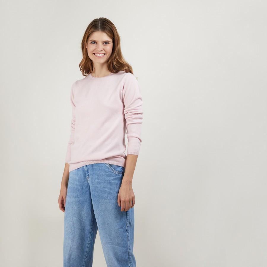 Round neck sweater 100% cashmere. BERLINE