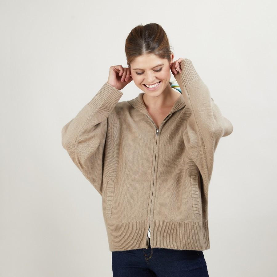 Zipped hooded jacket in 100% cashmere GABIN