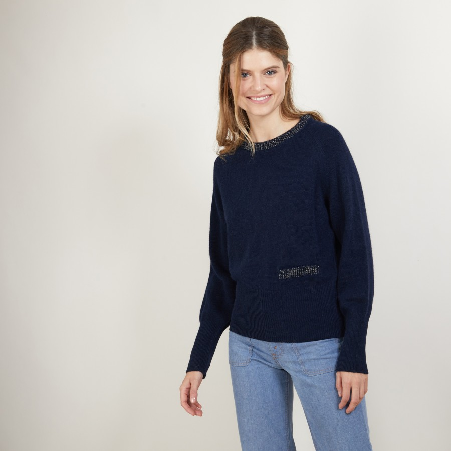 Alpaca wool round-neck sweater with raglan sleeves - Gina