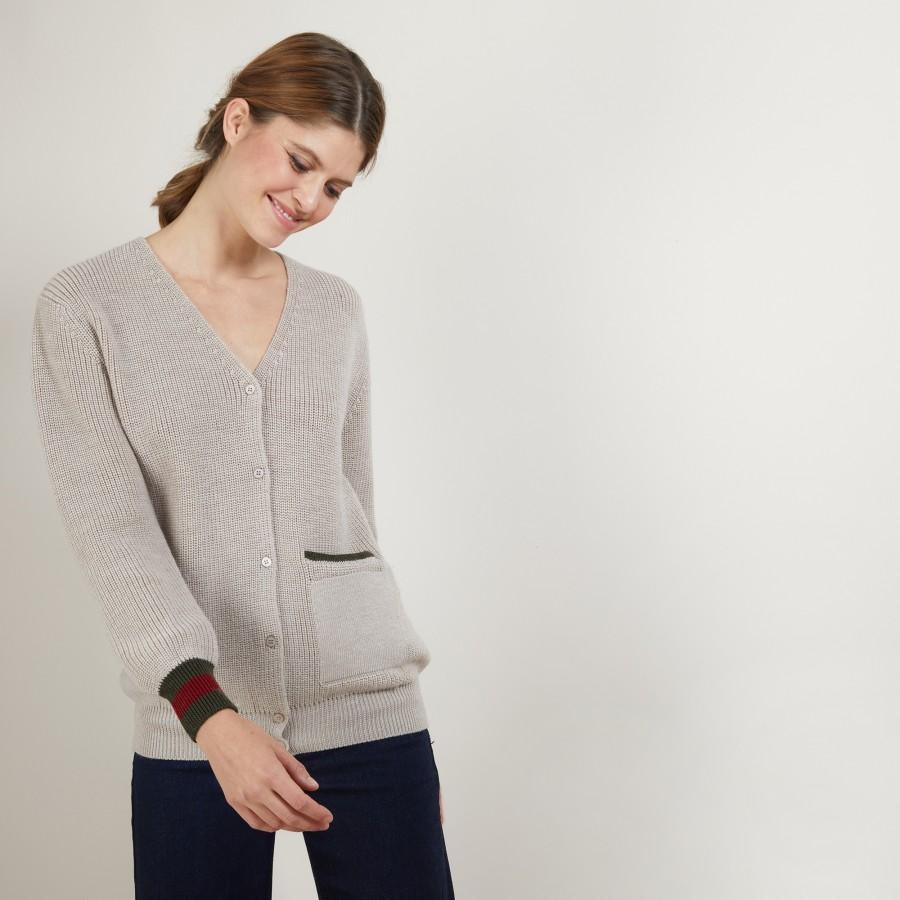 Tricolor wool cardigan - Faeza