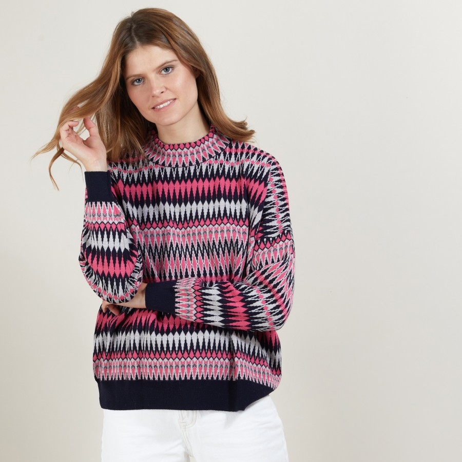Wool sweater with Aztec patterns - Fidji