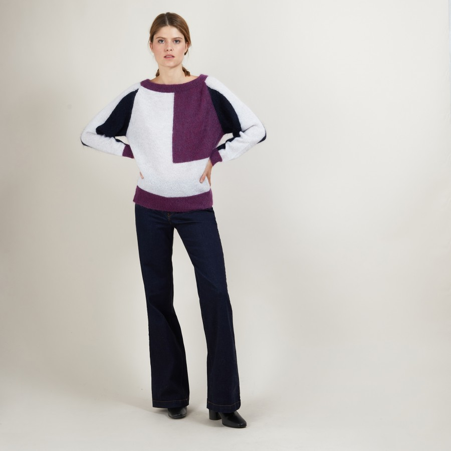 Oversized tricolor mohair sweater - Galva
