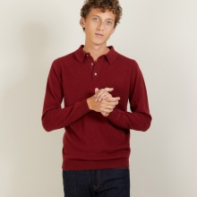 long-sleeved polo shirt in 100% cashmere-BILLY