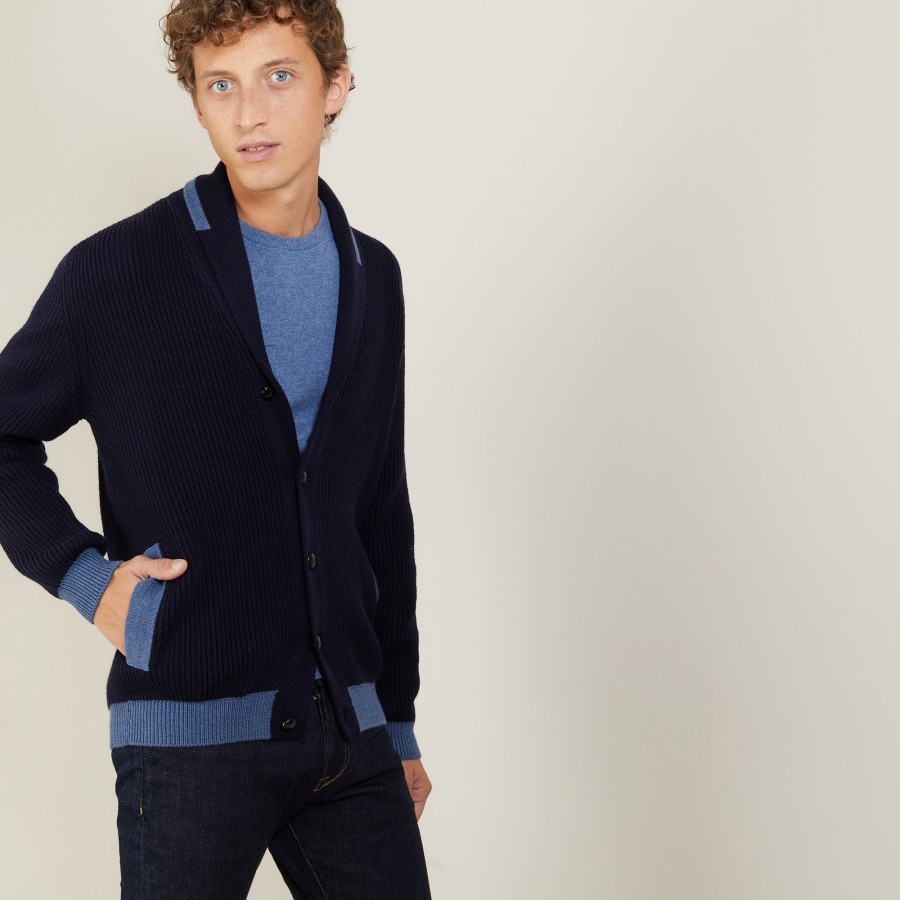 Two-tone buttoned wool cardigan - Loveo