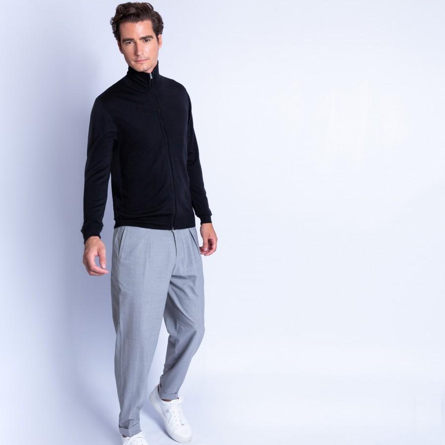 Zipped collar 100% wool cardigan Erwin