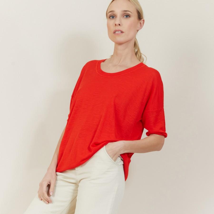Loose round-neck slub linen T-shirt - Mairena