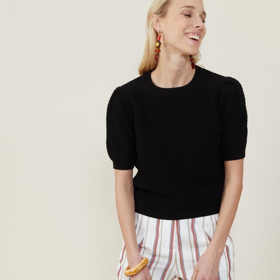 Chunky knit organic cotton T-shirt - Marie