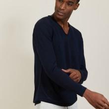 Slub linen T-shirt with Tunisian collar - Blayne