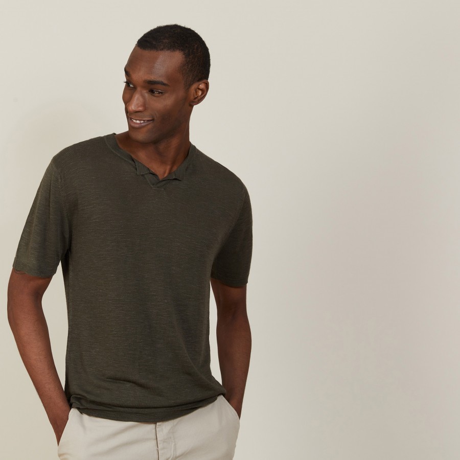 Slub linen t-shirt with Tunisian collar - Baraka