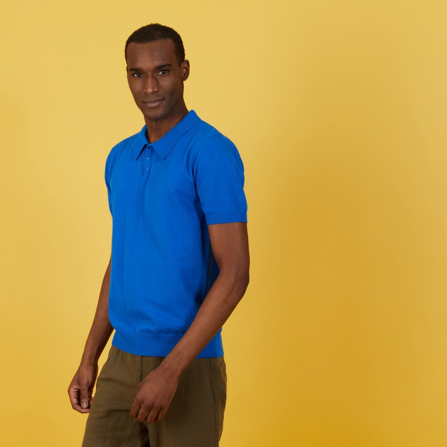 Plain dry cotton polo shirt - Bank