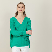 Loose-fit slub linen V-neck T-shirt - Beja
