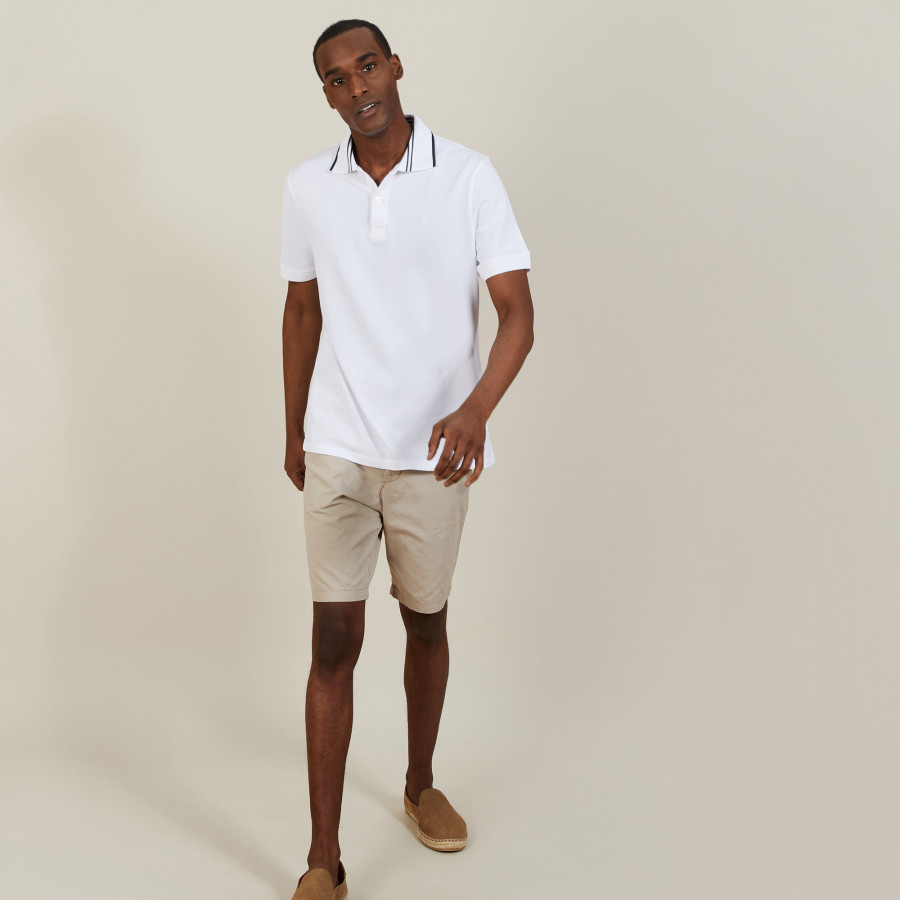 Cotton polo shirt with two-tone collar - Bistro