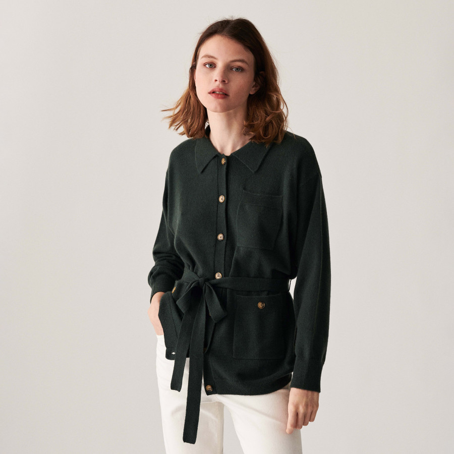 Buttoned cashmere jacket with polo collar - Clemence