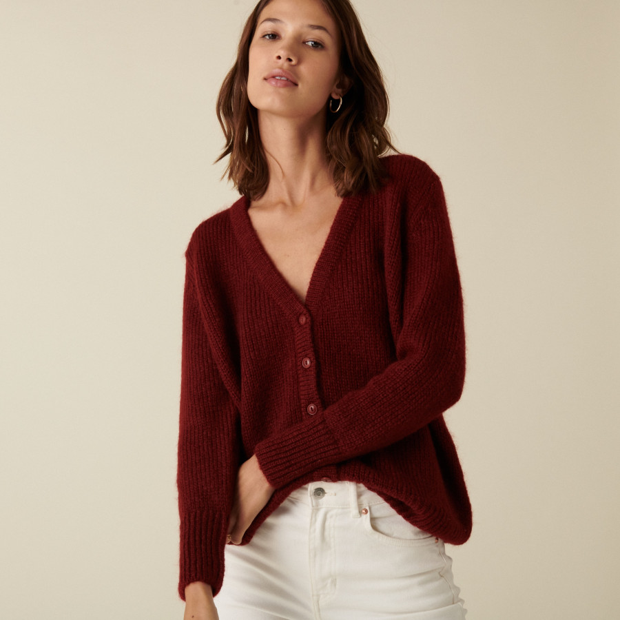 V-neck buttoned cardigan in mohair - Anais