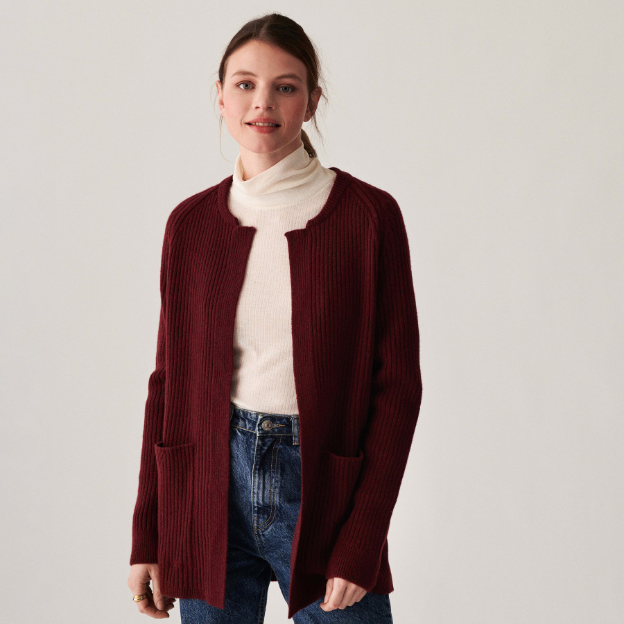 Long cardigan with pockets in recycled cashmere - Dina
