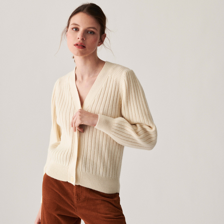 Alpaca wool V-neck cardigan with ribbed edges - Celly