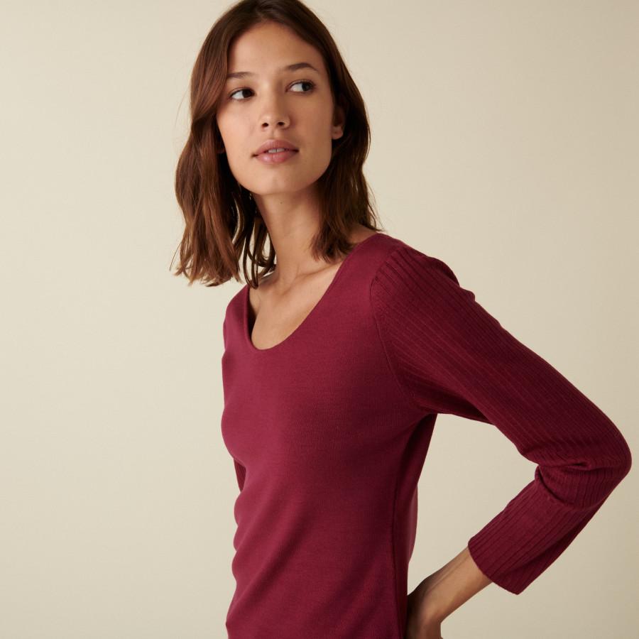 Fine-knit merino wool round-neck sweater - Altesa