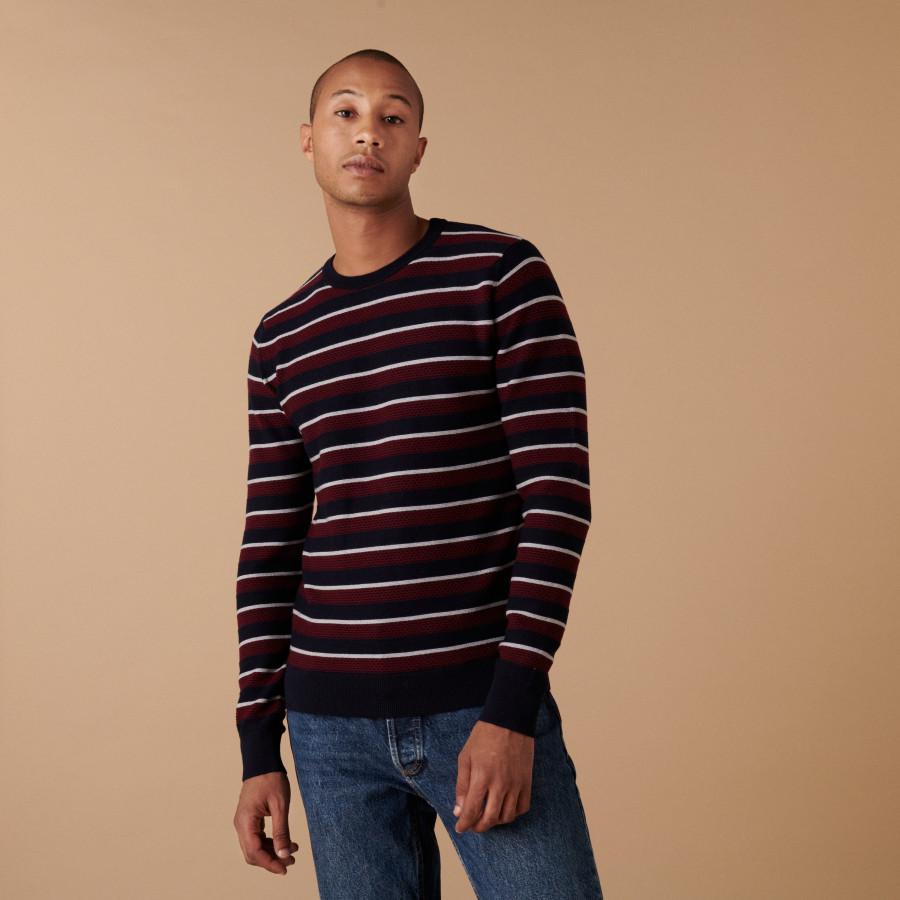 Round-neck striped merino wool sweater - Arno