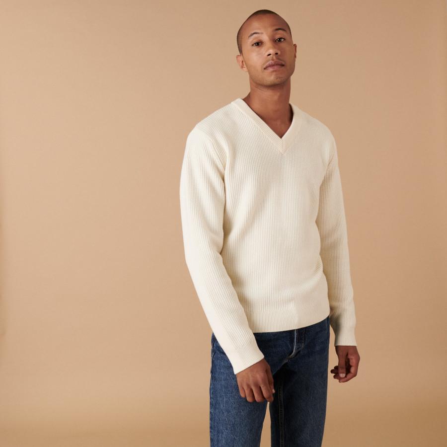 Chunky knit merino wool V-neck sweater - Ariston