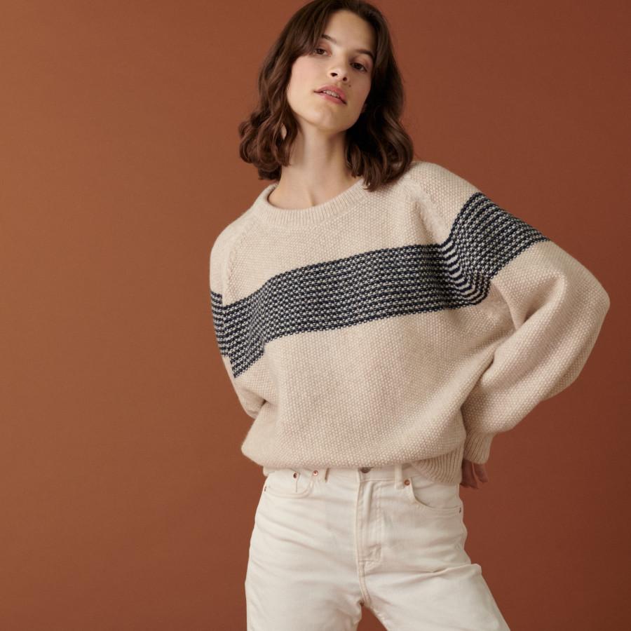 Two-tone raglan sleeve sweater in cocoon wool - Dilia