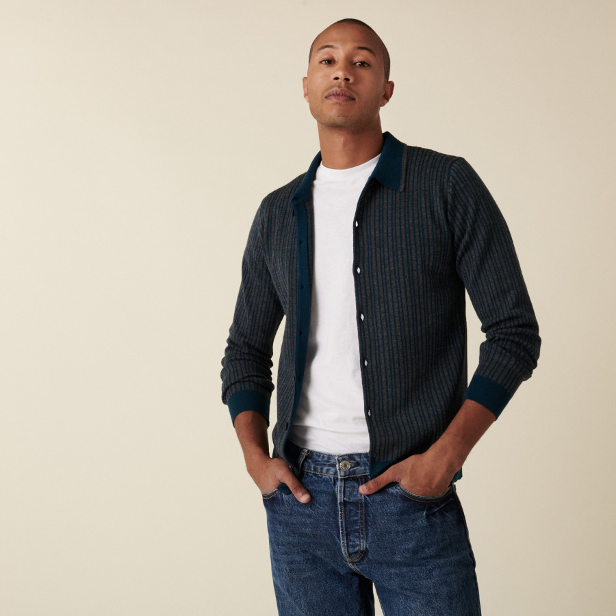 Merino wool button-down jacket with polo collar - Armel