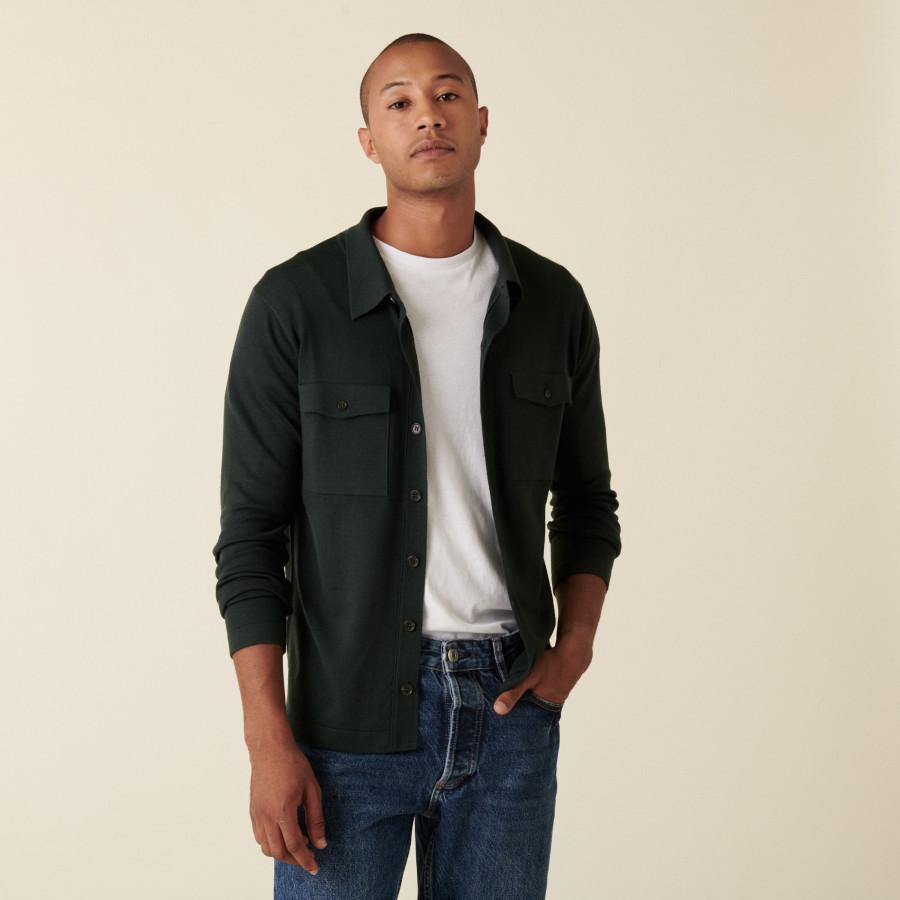 Merino wool patch pocket overshirt - Andy