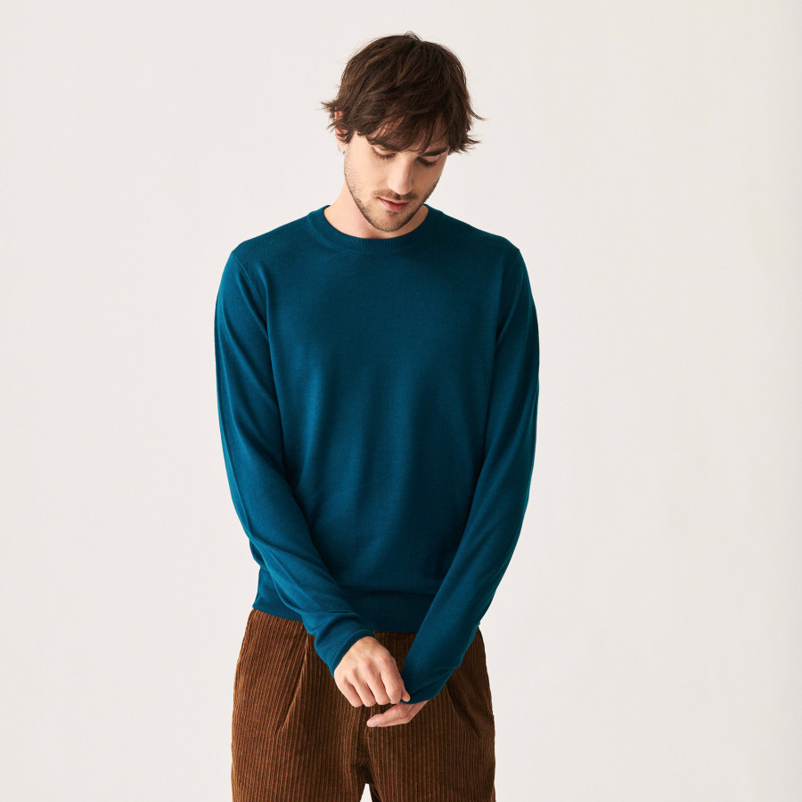 Round neck sweater with logo in merino wool - Eddie