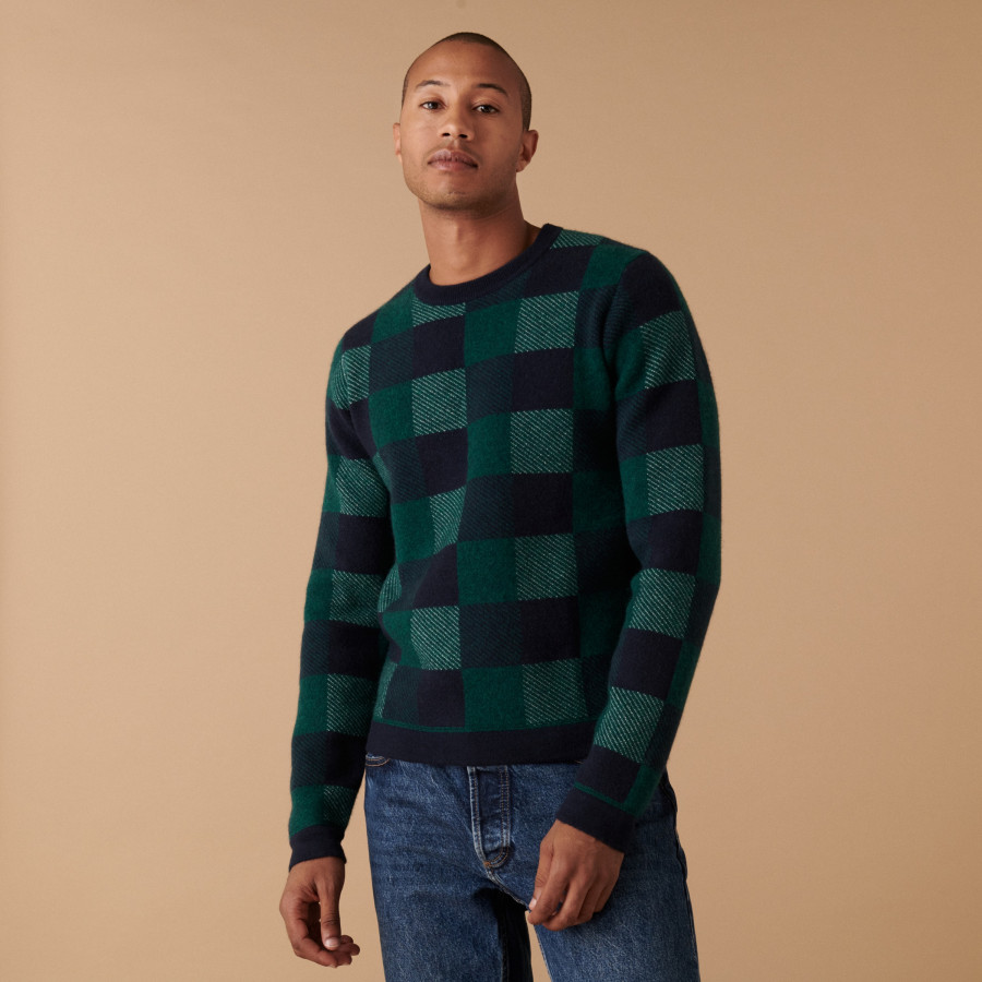 Checkered cashmere sweater - Amadeo