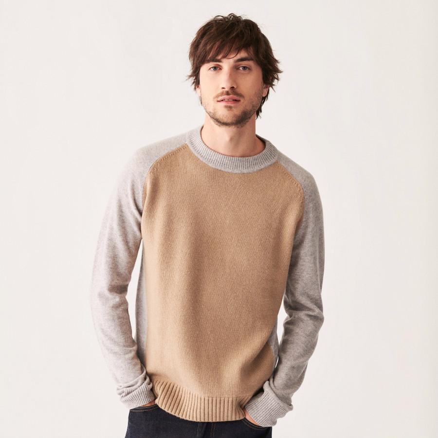 Two-tone cashmere sweater with raglan sleeves - Amalfi