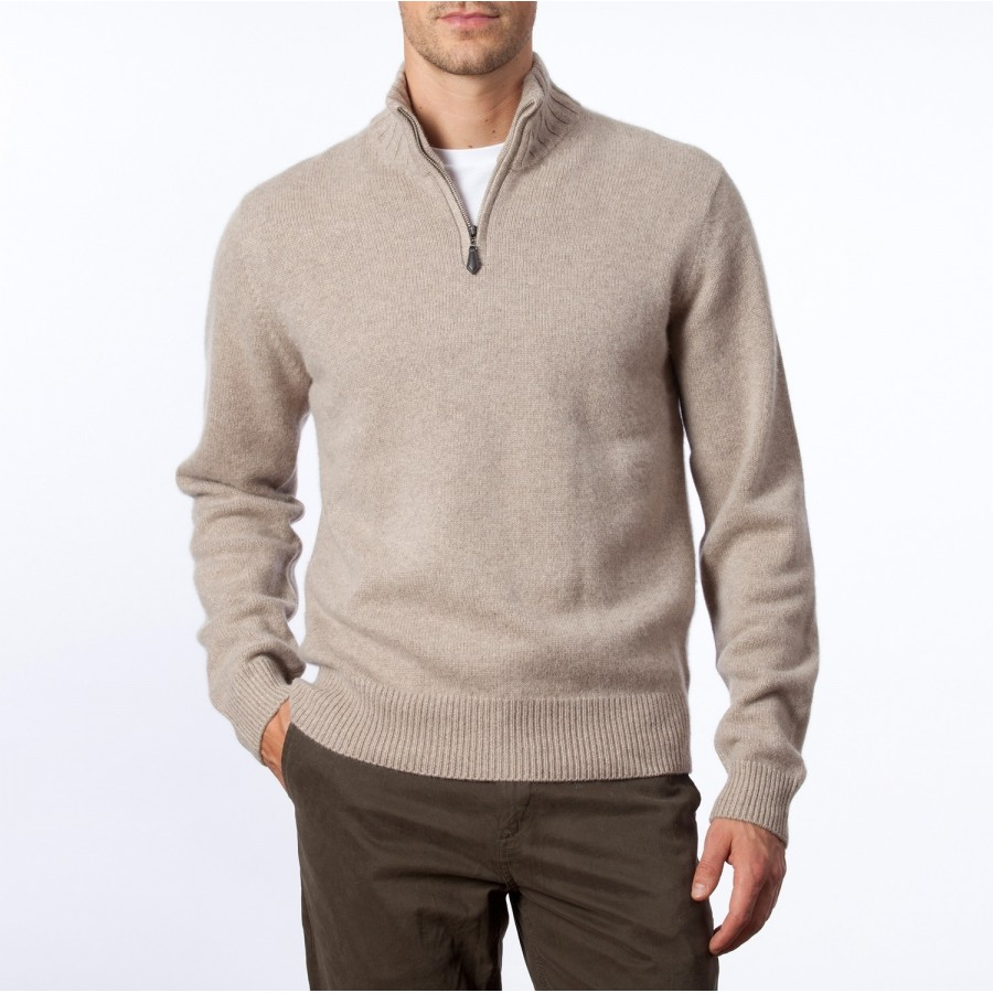 Cashmere cardigan with zipped collar Claude