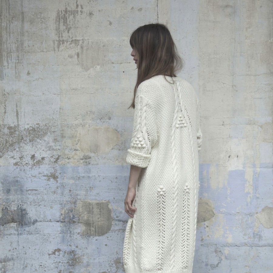 Woolen cable-knitted long coat Capsule Collection