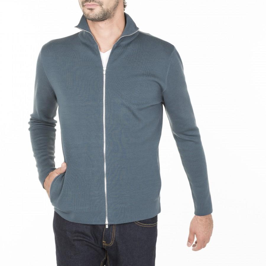 Gilet zippé avec poche en laine Maxence