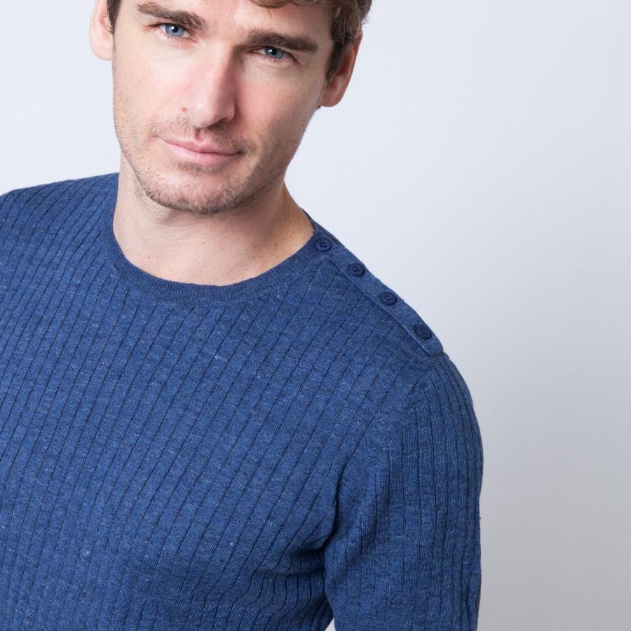 T-shirt en lin et coton Brune