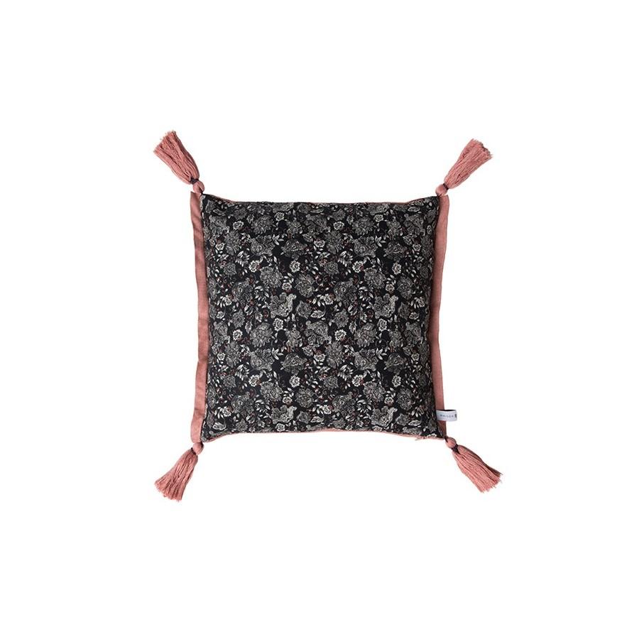 Maison Montagut x Maison Martin Morel reversible cushion cover - Idylle 6330 rafale safran - 10 gris fonce