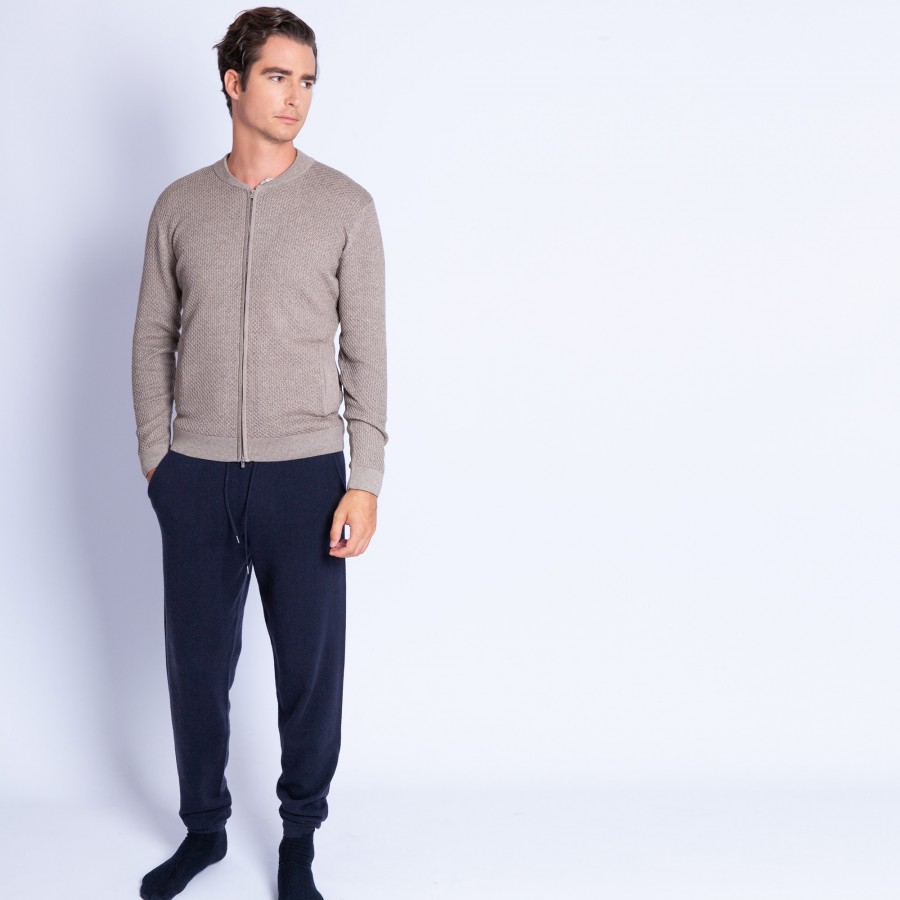 Cotton and cashmere zip-up cardigan - Hiro