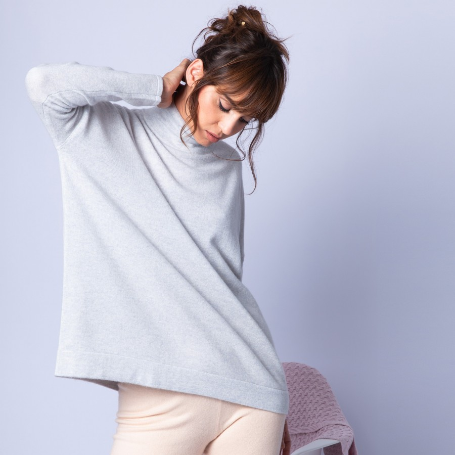 Cashmere jumper with stand-up collar – Hatty