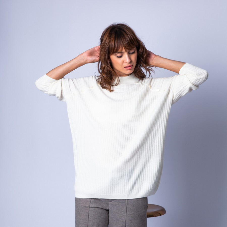 Cashmere jumper with buttons - Germaine